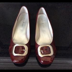 Kelly & Katie red patent flats with buckle Size 9